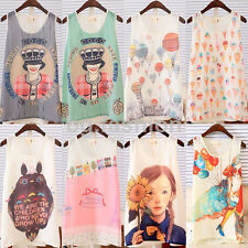 Cartoon Printed Cute Girls Chiffon Vest Tank Tee Shirt Tops Cami Blouse S-XL