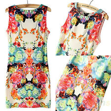 Retro Flower Print Sexy Womens Sleeveless Round Neck Slim Chiffon Dress New BD4U