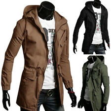 Winter Mens Slim Long Trench Coats Stylish Hoodies Jackets Tops Military Outwear