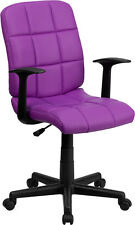 QUILTED SEAT & BACK SWIVEL HOME OFFICE DESK DORM ROOM CHAIRS WITH ARMS 6-COLORS