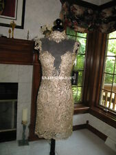 Sherri Hill 9701 Gold Lace Cocktail Dress sz 0