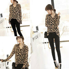 Women's Leopard Print Tops Long Sleeve Shirt Button Down Chiffon Blouse New