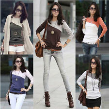 New Women Lady Long Sleeve Crew Neck T-Shirt Casual Splice Tops Blouse Tee