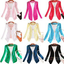 Womens Solid Slim Crochet Coat Knit Blouse Girls Lace Tops Cardigan Sweater BI2U