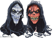 NEW HALLOWEEN SCARY SKELETON CORPSE FANCY DRESS HORROR HOODED LATEX COSTUME MASK