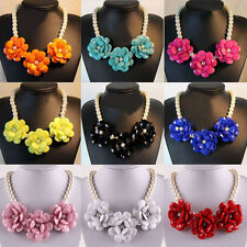 2013 Resin stone 3pcs Big Rose flower Faux Pearl statement Bib buble necklace