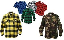 Buffalo Plaid Heavyweight Cotton Flannel Shirt Blue Red Green White Camo Yellow