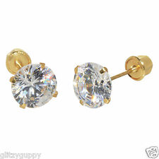 14k Yellow Gold Clear CZ Screwback Earrings Round Cubic Zirconia