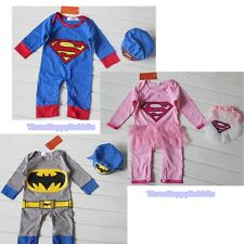 W048 Baby Boy Batgirl Superman Batman Costume Halloween (Free Hat) Up To 3M -12M