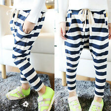 NEW Baby Kids Girls Casual Collapse Pants Harem Pants Stripes Pants Costume 2-7Y