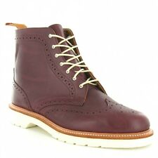 Dr Martens Bentley Mens Leather LaceUp Boots Cherry Red