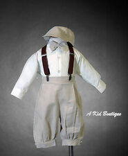 New Baby Boys Ivory Tan Knickers Vintage Suit Outfit Set Easter Christmas 0-4T