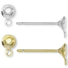 Lot of 100 Plated Brass Cup Stud Post Earring Findings With 4mm Setting and Loop