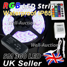 1M 2M 3M 4M 5M 5050 IP65 RGB SMD LED Strip + 24 Keys IR Remote Controller + PSU