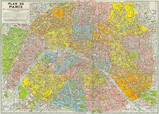 1960s Large Midcentury Wall Map Paris France