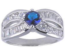 Sapphire Blue & Clear CZ Ring Size 6 7 Affordable Cubic Zirconia Jewelry