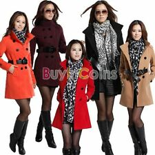 Women's Slim Wool Double Breasted Trench Winter Warm Coat Jacket Outwear Belt