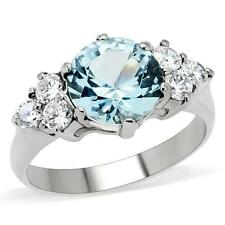 WOMEN'S STAINLESS STEEL LONDON LIGHT BLUE ROUND TOPAZ  AQUAMARINE CZ RING
