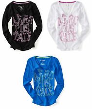 NEW Aeropostale Womens Aero Long Sleeve Slub Logo Graphic V Neck Tee Sz L XL XXL