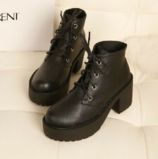Ladies Lace Up Platform Chunky High Heels Riding Western Ankle Boots US4-9