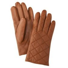Merona Womens Quilted Tan Leather Gloves