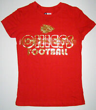 NFL Kansas City Chiefs Womens Foil Ink Touch Distressed Short Sleeve Shirt