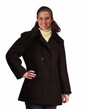 Womens Black Wool Peacoat - US Navy Type Wool Coat Military Jacket Sizes XS - XL