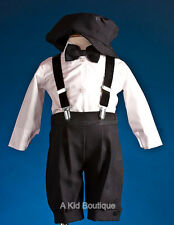 New Boys Black White Knickers Vintage Suit Outfit 5pcs Set Christmas Wedding