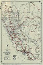 1925 RETRO VINTAGE ROAD MAP CALIFORNIA HWY 101 VINTAGE