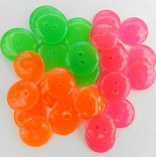 10 x bright & zingy neon buttons green pink orange 2 holes various sizes