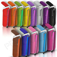 BUTTON LEATHER PULL TAB CASE COVER POUCH AND STYLUS PEN FITS VARIOUS HTC MOBILES