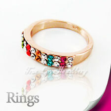 Beautiful 2Row 18K Colorful GP Ring Use Swarovski Crystal RP9561 Free Gift Pouch