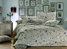 New REVERSIBLE grey flowers Luxury Duvet Cover 3pcs Set TWIN DOUBLE QUEEN  KING