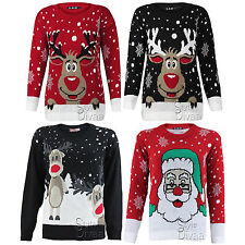 A90 LADIES KNITTED RUDOLPH REINDEER XMAS WOMENS CHRISTMAS NOVELTY JUMPER SWEATER