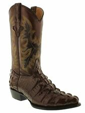 Mens crocodile alligator cowboy boots brown leather tail cut western exotic