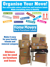 Moving Home Stickers / House Box Contents & Furniture Colour Coding - Removable
