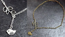 ** BIRD BRANCH LEAF LARIAT STYLE NECKLACE * SILVER BRONZE * QUIRKY CUTE GIFT **