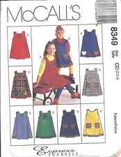 8348 8349 UNCUT Vintage McCalls SEWING Pattern Girls Jumper w/ Appliques OOP FF