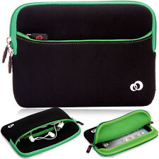 Kroo Green Soft Washable Protective Carrying Zipper Sleeve Cover for Tablets