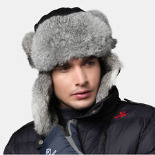 New Men Black Snowboard Pokemon Rabbit Fur Russia Trapper Aviator Bomber Hat Cap