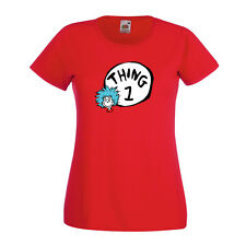 THING 1 2 3 4 5 6 7 8 DR SEUSS LADIES FITTED RED T SHIRT Cat in the Hat UK 8-18