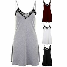 Ladies Casual V Lace Neck Thin Strap Loungewear Flare Top Women's Dress 8-14