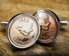 COIN CUFFLINKS - FARTHING CHOOSE THE YEAR 1911-1956 PERFECT BIRTHDAY PRESENT