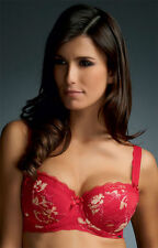 Brand New Fauve Lingerie Evangeline Padded Half Cup Bra 0262 Rouge VARIOUS SIZES