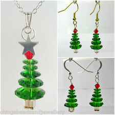 Crystal Christmas Tree Necklace Earrings Made with Swarovski Elements