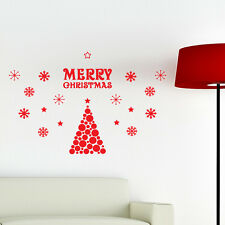 Merry Christmas Tree Wall Sticker Snowflakes Shop Window Transfer Decorations