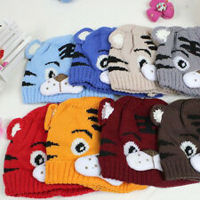 1pc Baby Toddlers Kids Knitting Winter Tiger Hat W/ Tail Bonnet Beanie Soft Warm