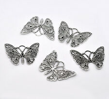 Wholesale Lots Silver Tone Butterfly Charm Pendants 48x36mm