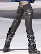 Women's GLADIATOR STYLE CREAY CHAIN HIGH HEELS OVER THE KNEE HIGH BOOTS LKS914