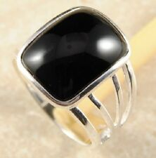 Clearance R13 Awesome Black Onyx Silver Plated Ring RRP£24 Sizes M - T,Size 6-10